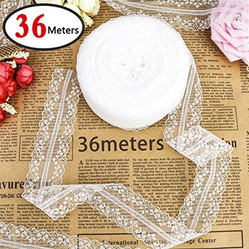 GeMoor 36M  Spitzenband Vintage Spitzenbordüre Spitzenborte Weiß 3.5cm Breit für DIY Handwerk Hochzeit Weihnachten Party Deko