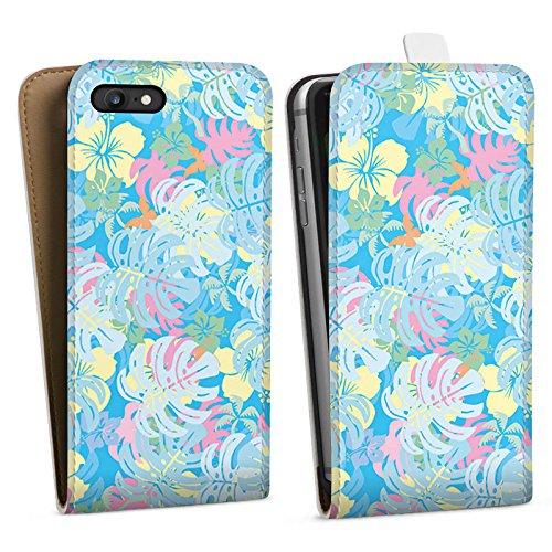 Apple iPhone X Silikon Hülle Case Schutzhülle Sommer dschungel pastell Downflip Tasche weiß