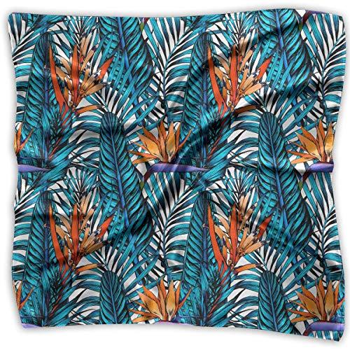 xiadayu Womens Girl's Leaves Palm Tree Print Square Kerchief Scarf Head Wrap Neck Satin Shawl Satin Square Neck