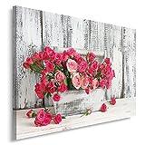 Feeby, Wandbild - 1 Teilig - 60x80 cm, Leinwand Bild Leinwandbilder Bilder Wandbilder Kunstdruck, Rosen, Natur, Rosa, Grau