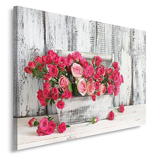 Feeby, Wandbild - 1 Teilig - 80x120 cm, Leinwand Bild Leinwandbilder Bilder Wandbilder Kunstdruck, Rosen, Natur, ROSA, GRAU - Rosen Bild Rosa
