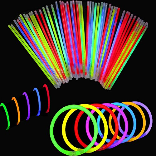 Imagen de bbm [solamente 100 varitas luminosas y 100 conectores reutilizables] varitas luminosas fluorescentes pulseras luminosas para fiestas formar pulseras