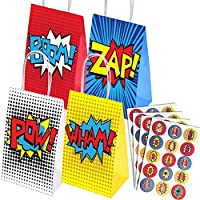 yizeda 16 Pack Superhero Party Bags and 60 Pcs Superhero Party Stickers for Superhero Party,Theme Birthday Supplies Favors