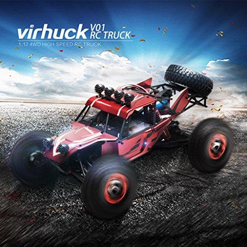 Virhuck V01 1:12 4WD Coche RC Alta Velocidad Shell de Metal 2.4GHz Camión Desierto Todo Terreno RTR Distancia Remota 80 100M 1500mAh 40km/h Buggy con Herramientas de Reparación Rojo