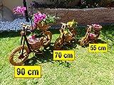 Riesiges Fahrrad, Motorrad, Rad, Bike 90 x 58 groß, Korb, Körbe, Korbgeflecht, Rattan, Weidenkörbe, Weidenkorb, Pflanzkorb, Blumentöpfe, Holzschubkarre, Pflanztrog, Pflanzgefäß, Pflanzschale, Blumentopf, Pflanzkasten, Übertopf, Übertöpfe, Pflanztrog, Pflanztopf mit Holz - Deko, Blumentopf, NATUR HELL ideal für Holzhäuser Fertighäuser und Eingänge Pflanzgefäß, Pflanztöpfe Pflanzkübel