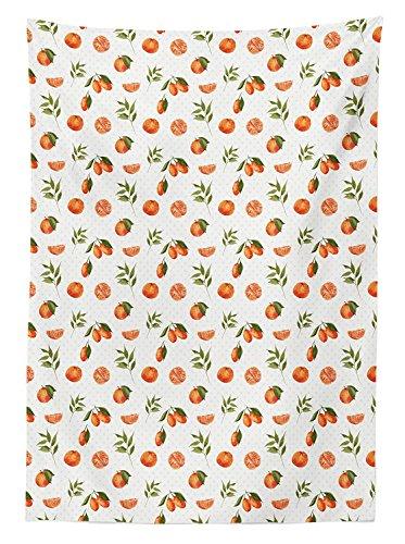 Yeuss Burnt Orange Tischdecke Watercolor orange Tangerine Fruits Blätter auf Polka Dots, Esszimmer Küche Tisch, rechteckig, Burnt Orange Farn grün, 132,1x 177,8cm, 60
