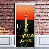 3DWallflexi Sticker Porte Stickers 3D Imprimer Vinyle Chambre Porte Autocollants Peintures Murales Autocollants Affiches Bricolage Art Décors 88x200cm(34.6x78.7inch) - Tour Eiffel