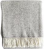 Creme-graue Fischgrat Streifen Wolldecke aus 100% naturbelassener skandinavischer Schurwolle, ca 200x130cm mit Fransen, 800g