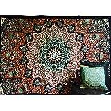 Tapiz mandala indio, diseño psicodélico, ideal como colcha o para colgar en la pared, diseño de estrellas y elefantes, estilo hippie, bohemio, etc., para decoración de dormitorio, 100% algodón, pintado a mano