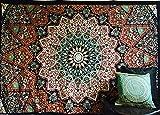 Indische Decke, Hippie-Stil, Boheme Wohnheim-Deco-Stil, 100% Baumwolle, Mandala-Motiv bedruckt, Motiv Beach Tagesdecke Wandbehang