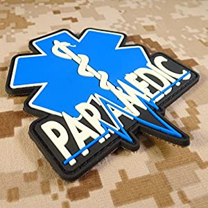 EMT EMS Paramédical Paramedic Thin Blue Line Glow Dark GITD 3D PVC Gomme Attache-boucle Écusson Patch
