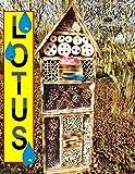Gartendeko Nisthotel Hoch 50 cm groß hell GEFLAMMT RUSTIKAL, für Marienkäfer Schmetterling XXL INSEKTENHOTEL MIT TRÄNKE SDV-HOLO-OS und FUTTERPLATZ, mit Spezialoberflächenbeschichtung
