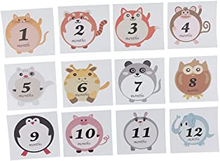 Segolike Cute Animal Baby Monthly Milestone Sticker Baby Shower Photo Prop 1-12 Month