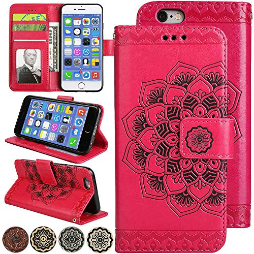iPhone 5s Fold Wallet Case for Women, iPhone5s 4.0inch Fold Kickstand Back Cover, Flip Leather Purse Pouch with Wrist Strap and Hidden Card Pocket Case for iPhone 5 (5s) Magnetic Case (Red)
