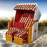 Strandkorb Flexi Incl. Bezüge Verschiedene Modelle Volllieger Gartenliege Sonneninsel Poly-Rattan XXL Grundmodell Rot + Bezug Rot-Beige-Karo