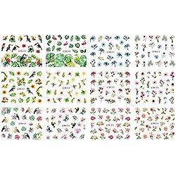 Conjunto Pegatina de Uñas - Anself Etiqueta Engomada del Clavo 3D Verano, Rosas Margaritas Flamingo Flor