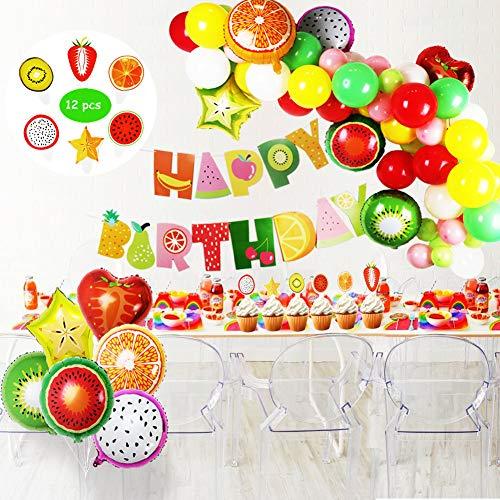 ti Party Dekorationen Set für Kinder,Obst Folien, Latex Party Ballons, Cupcake Toppers für Geburtstag Baby Dusche Obst Thema Dekor ()