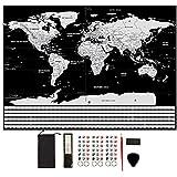 GBATERI Große Deluxe Scratch Off Weltkarte Poster-Silberfolie Scratchable personalisierte Reisekarte Rubbel Weltkarte mit Fahnen, verfolgen Sie Ihre Reisen, Abenteuer, (Schwarz | 82X 60 cm)