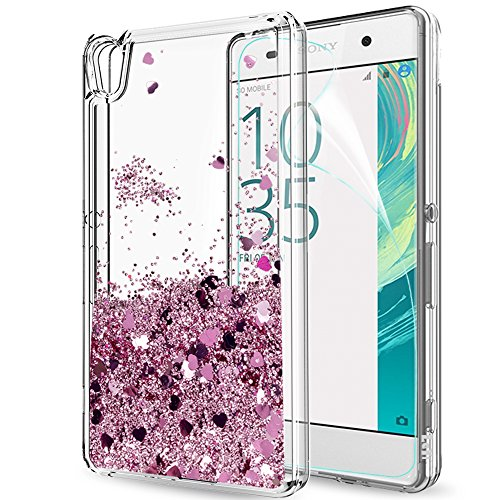LeYi Xperia XA Hülle,Sony Xperia XA Hülle, Glitzer Mädchen Flüssig Treibsand Clear Transparent Ultra Dünn Bumper Handyhülle Schutzhülle mit HD-Schutzfolie für Sony Xperia XA Case ZX Rose Gold