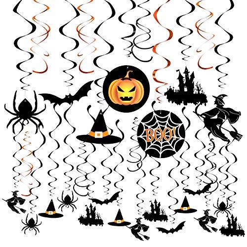 Weeygo 30 Piezas Remolinos Colgantes de Halloween Araña Adornos Bruja Calabaza Fantasma Colgando Banner Halloween Evento Suministros Decoraciones