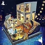 Kinder Spielzeug Puppenhaus mit Möbeln Kreative handgemachte Modell mediterrane romantische Valentinstag Miniatur 3d Gewächshaus Craft Kits für Erwachsene - Holzpuppen Haus mit Möbeln und Zubehör, Ler
