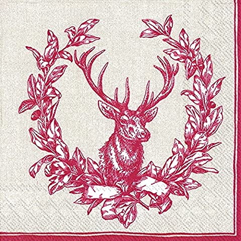 COUNTRY DEER Red Lunch Paper Table Napkins 20 Serviettes 33 cm Square