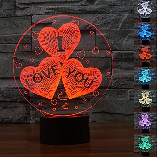 HeXie LED Nacht Lichter 3D Illusion Nachttisch Lampe 7 Farben ändern Schlafen Beleuchtung mit Smart Touch Button Nette Geschenk Warming präsentieren kreative Dekoration ideale Kunst und Handwerk (Für immer Liebe)