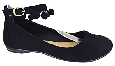 b7538e12ec EYESONTOES Ladies Womens Flat Ankle Strap Pom Ballet Ballerina Pumps Smart Shoes  Size 3-8: Amazon.co.uk: Shoes & Bags