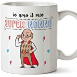 Mugffins Nonno Tazza/Mug - Io Amo Il Mio Super Nonno - Idea Regalo Festa del papà/Tazza Miglior Nonno in Ceramica. 350 ml