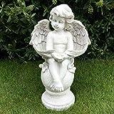 Große Cherub Engel auf Kugel sitzend Garten Statue Ornament Gedenk Stein Effekt