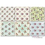 Paper Moon - Papel Scrapbooking Calidad x 6 hojas (1 x 6 diseños) de 20 cm x 20 cm - Shabby Chic Rosas Pequeñas