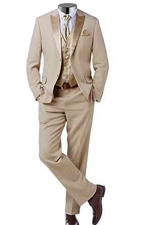 herren anzug 3teiler slim sakko hose weste hochzeit smoking slimline 52 beige. Black Bedroom Furniture Sets. Home Design Ideas
