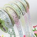 Spitze Glitter Washi Tape, bunt, dekorative Sticky Klebeband DIY Craft Scrapbooking Aufkleber zufällige Muster Set von 5