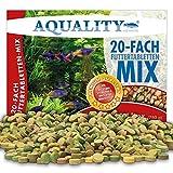 AQUALITY Aquarium 20 Sorten Futtertabletten Mix 1 Liter (Tägliche Futterabwechslung, Hauptfuttermittel Tabs für Zierfische, Pflanzen, Spirulina, Tablettenfutter, Futter)