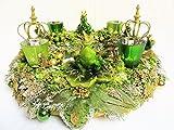 Adventskranz FROSCHGOLD Gross Froschkönig Krone Glitzer Tischdeko Prunk Weihnachten Grün Gold Verspielt