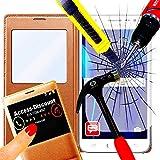 Access-Discount-Kit LUXE di accessori per SAMSUNG GALAXY J1-cover di protezione a portafoglio con flip cover con finestrella, SVIEW oro per Smartphone android Discount-J 1 ms j100 sm-j100 J100F 3 g, 4G