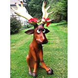 LD Weihnachten Deko XXL LUSTIGES RENTIER~RUDI sitzend ca.140cm hoch~ELCH~WEIHNACHTSDEKO~DEKO~XMAS (Lieferzeit ist 3-7 Tagen)