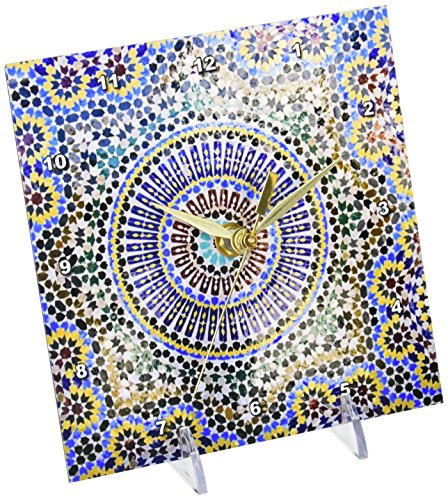 3dRose dc_132003_1 Mosaic Wall for Fountain, Fes, Morocco, Africa AF29 KWI0083 Kymri Wilt Desk Clock, 6 by 6""