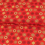 Stoffe Werning Baumwollstoff Weihnachten Eisblumen rot