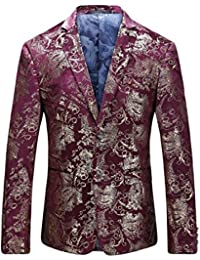 Men s Luxury Casual Velvet Dress Suit Slim Fit Floral Prints Stylish Blazer  Coats Chic Jackets 9a02c189e