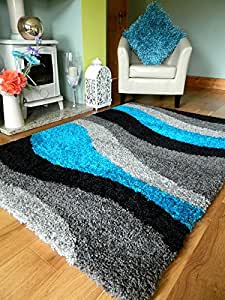 NEW MODERN BLACK SILVER GREY TEAL SOFT 5 cm THICK PILE SHAGGY RUGS NON SHED MEDIUM EXTRA LARGE MATS (160 X 225 CM)