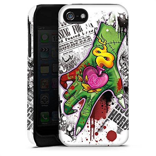 Apple iPhone 5s Housse Étui Protection Coque Tatouage Zombie Zombie Cas Tough terne