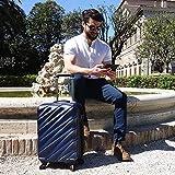 Bagage Cabin Max Tuscany 2.0 Ultra Léger 2.4kg ABS Coque Solide Voyage Transport Bagage Cabine Bagage à Main Valise à 4 Roulettes, Autorisée par Ryanair, Easyjet, et Bien d'Autres (Bleu)