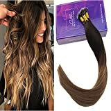 LaaVoo 22Pouces Pre Bonded Nano Tip Human Hair Extension Brun Fonce Balayage Brun Moyen Ombre Cendre Blonde Fusion Micro Ring Beads Stick Individuels 1G/S 50GR