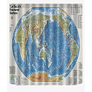 Mapa Cortina De Ducha Digital Impresión Poliéster Impermeable Antimoho