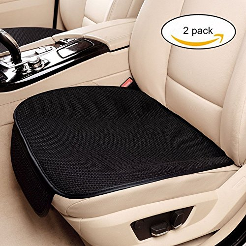 Haosen 2 pezzi ammortizzatore di sede auto coprisedili protezioni per sedili cuscino del sedile auto - coprisedili singoli,materiale di seta tridimensionale di ghiaccio,confortevole antiscivolo,quattro stagioni universale (nero)