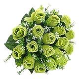 Soledì Fiori Finti Rosa per Decorazioni Interno Matrimonio Fiori Artificiali 18 Rose Bouquet (Verde)