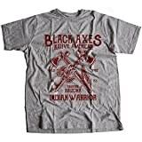 Flamentina A002-015g Black Axes Mens T-Shirt Native American Indian Warrior Wild Free Chief Bike Motorcycle Vintage Tattoo(X-Large,Sportsgrey)