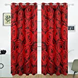 Coosun Rose rouge Motif Rideaux occultant occultant Isolation thermique Polyester...