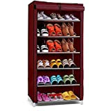 Ebee Store Iron Collapsible Shoe Stand  Maroon, 6 Shelves